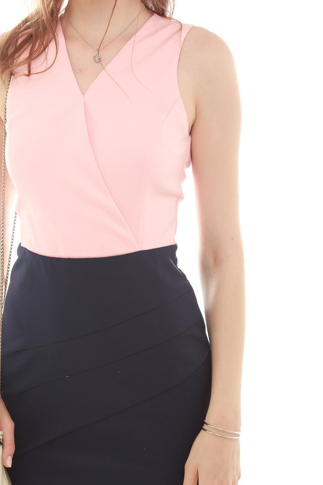 Colourblocking Sheath Dress in Blush