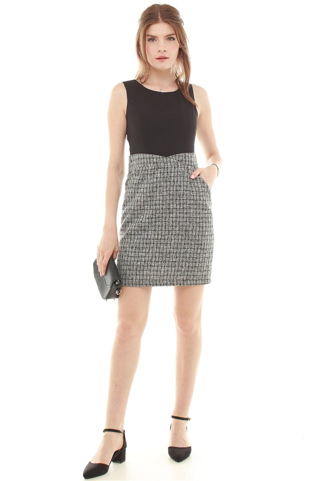 Tweed Contrast Pocket Work Dress in Black Tweed