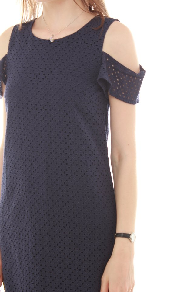 Cold Shoulder Eyelet Shift Dress