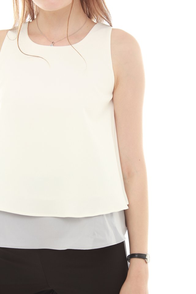Colourblocking Layered Top in Dusty Grey