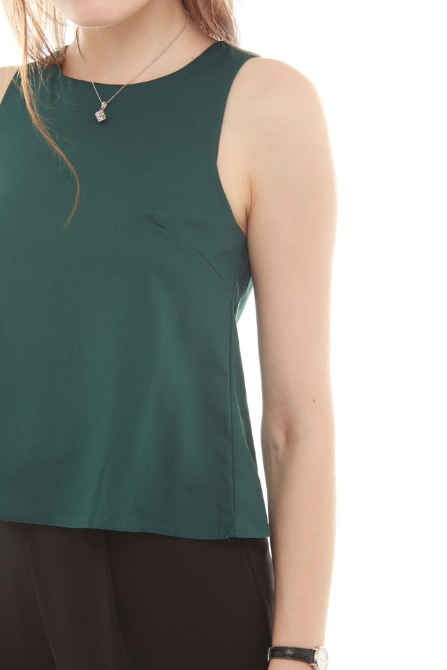 *BACK IN STOCK* ACW Pleated Shell Top in Emerald