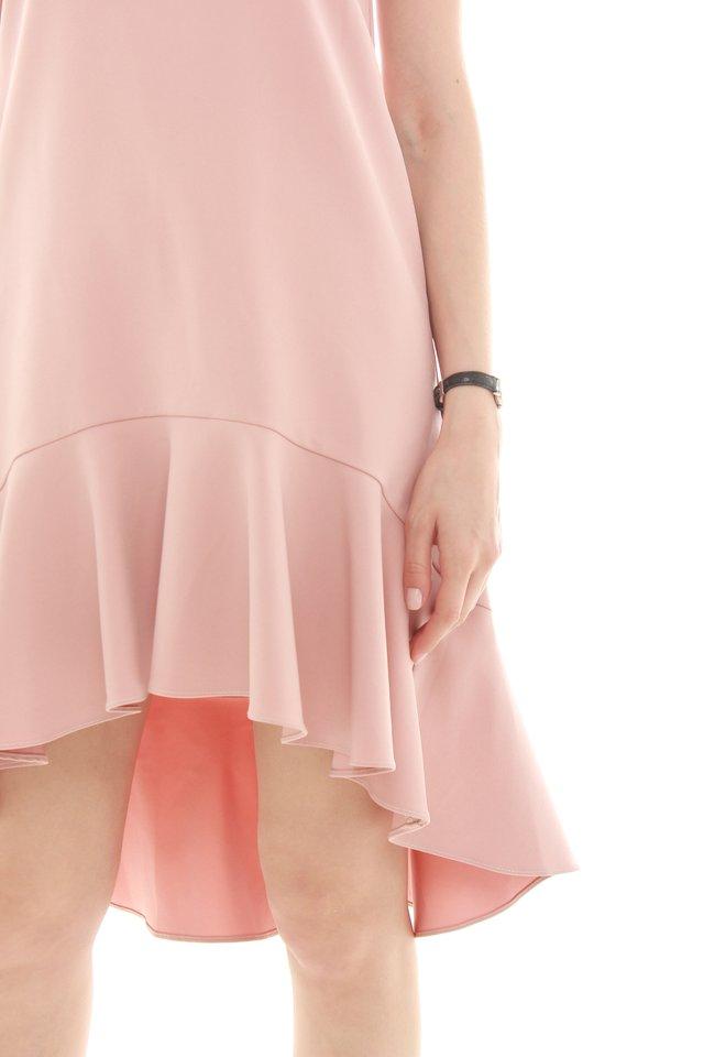 *BACK IN STOCK* Twirling Drop Hem Midi Dress in Dusty Pink