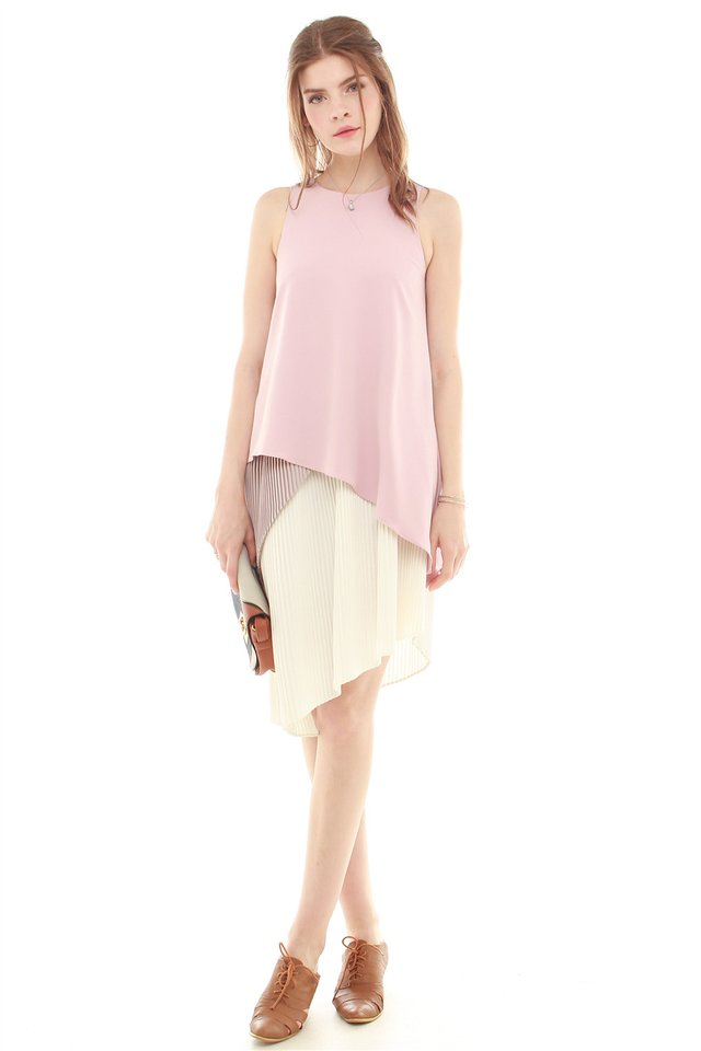 Colourblocking Asymmetric Layered Midi Dress in Dusty Pink