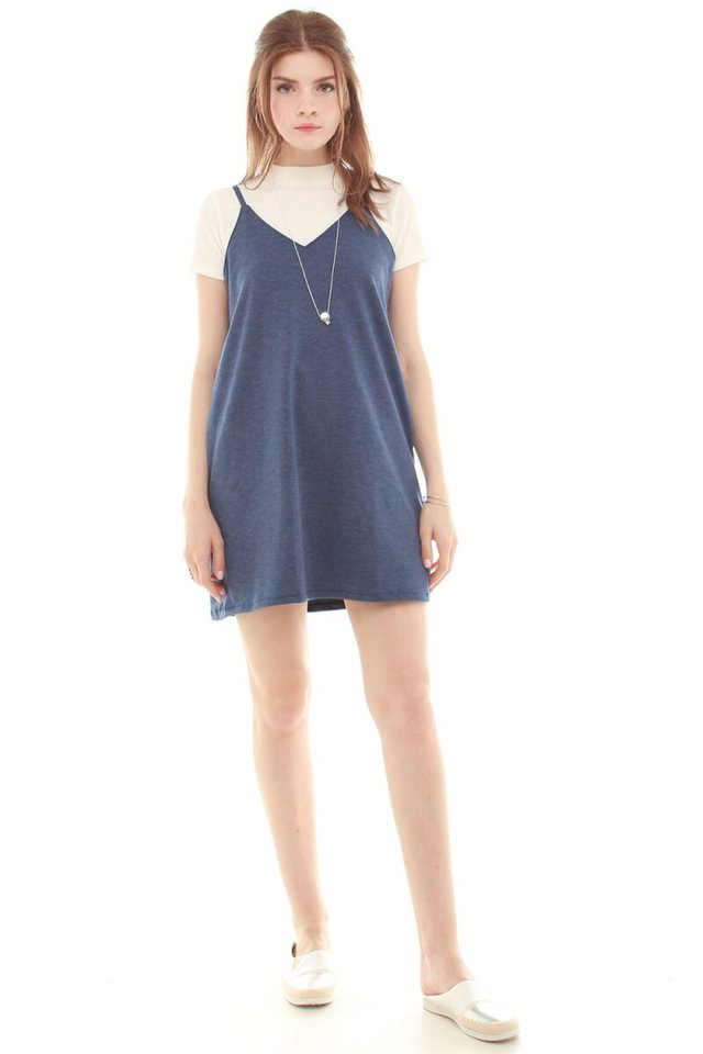 *BACK IN STOCK* Basic Pocket Slip Dress in Washed Denim Blue