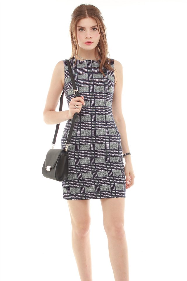 Coloured Houndstooth Work Dress in Emerald