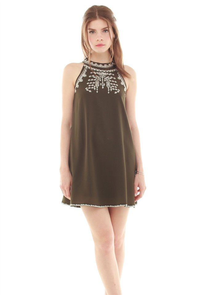 Embroidery Trapeze Dress in Olive