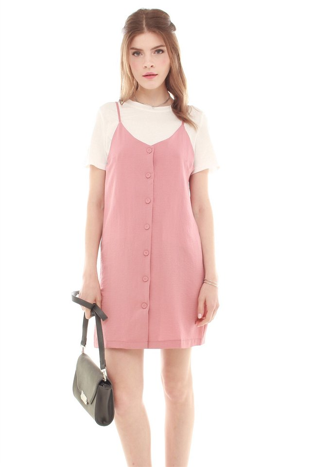 Button Down Two Piece Slip Dress in Mauve