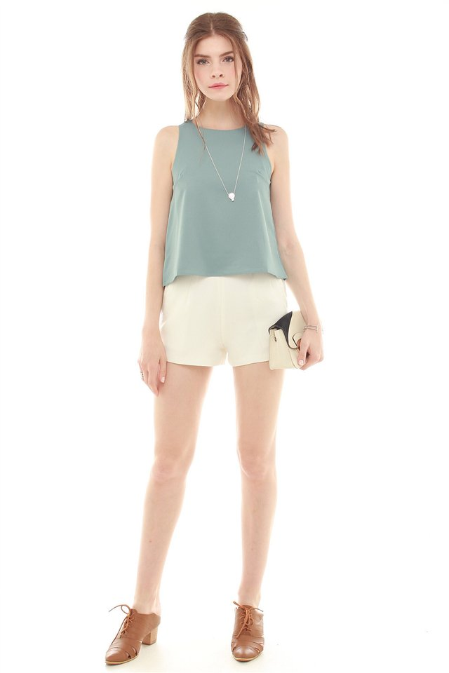 *BACK IN STOCK* ACW Pleated Shell Top in Turquoise
