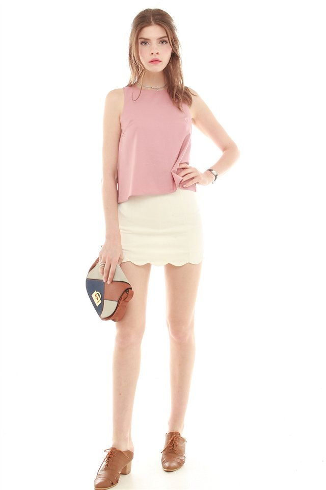 *BACK IN STOCK* ACW Pleated Shell Top in Dusty Pink