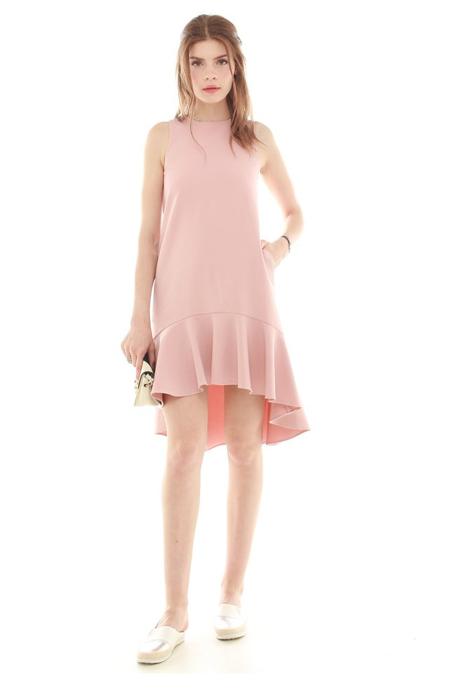 *BACK IN STOCK* Twirling Drop Hem Midi Dress in Dusty Pink