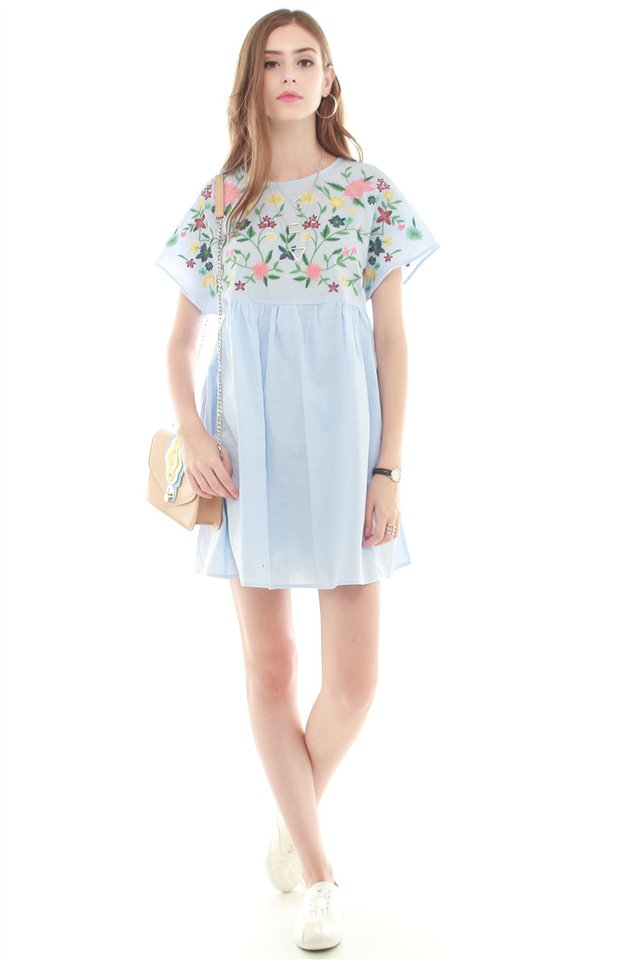*BACK IN STOCK* Embroidery Romper Dress in Denim Blue