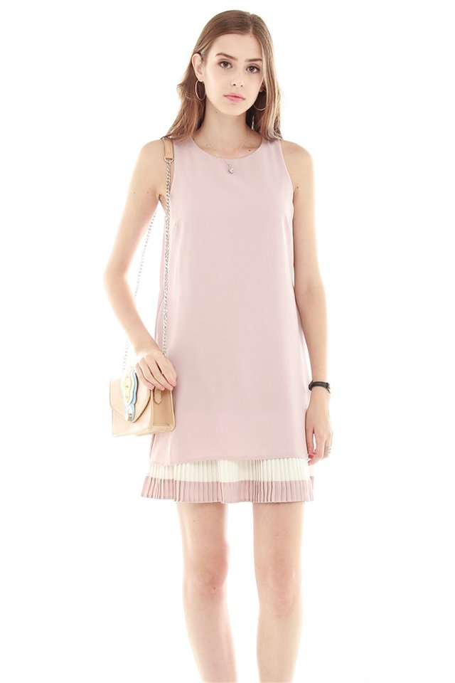 *Backorder 2* Double Pleat Colourblock Shift Dress in Dusty Pink