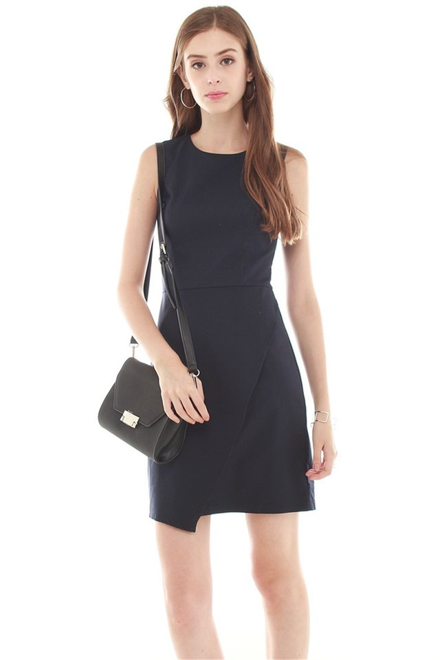 Overlap Work Dress in Navy