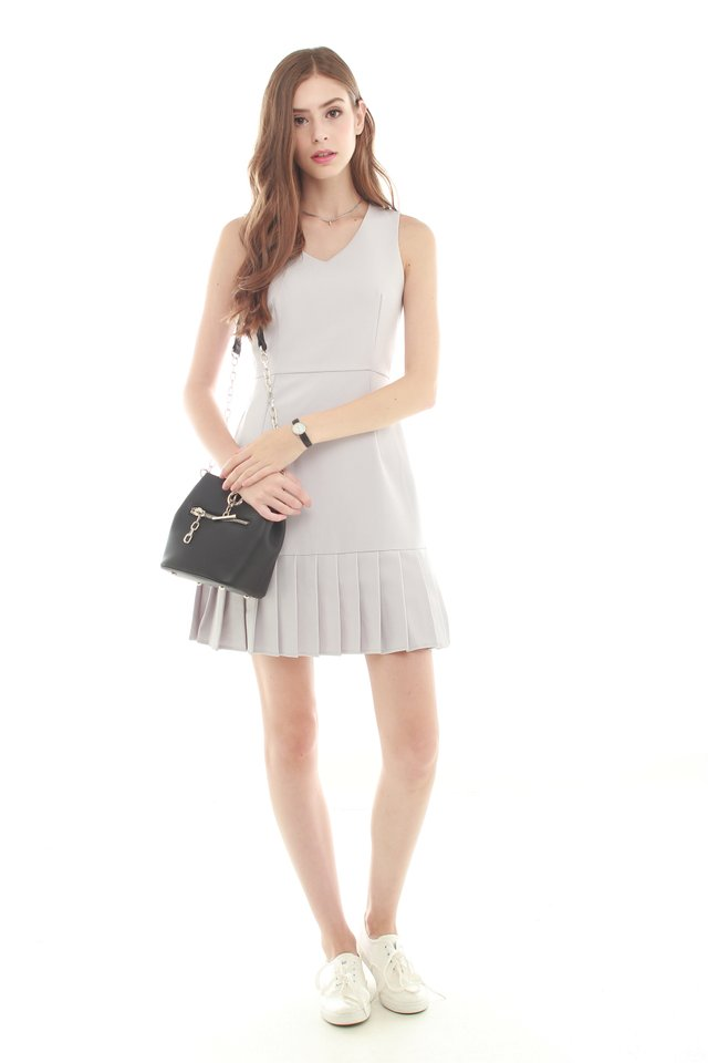 *Backorder* Pleated Hemline Fit and Flare Dress in Dusty Grey