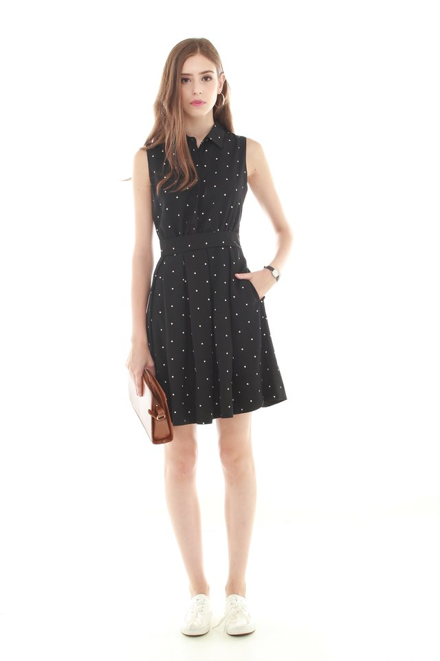 *BACK IN STOCK* Button Down Preppy Flare Dress in Polka Dots