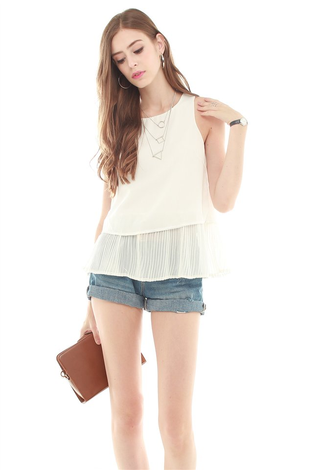 *BACK IN STOCK* ACW Pleated Hemline Shell Top in White