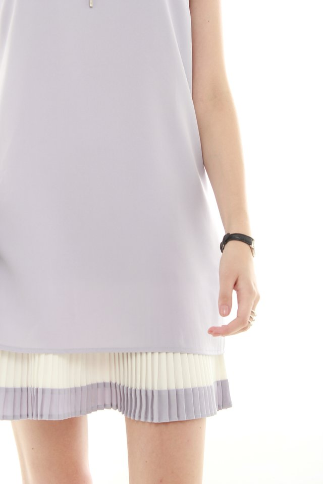 *BACK IN STOCK* Double Pleat Colourblock Shift Dress in Dusty Grey