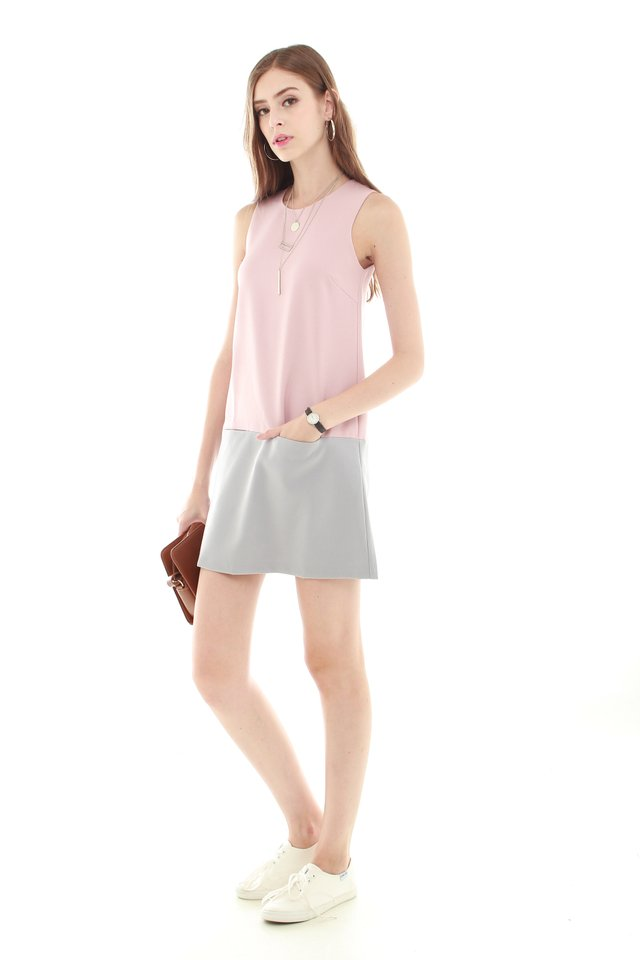 *BACK IN STOCK* Colourblocking Pocket Shift Dress in Dusty Pink