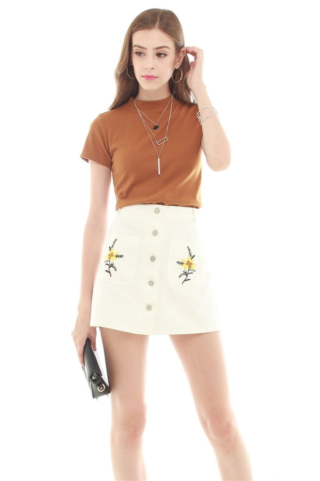 *BACK IN STOCK* Embroidery Button Down Skirt in White