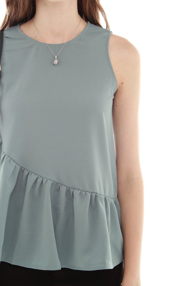 *BACK IN STOCK* ACW Peplum Tiered Top in Turquoise