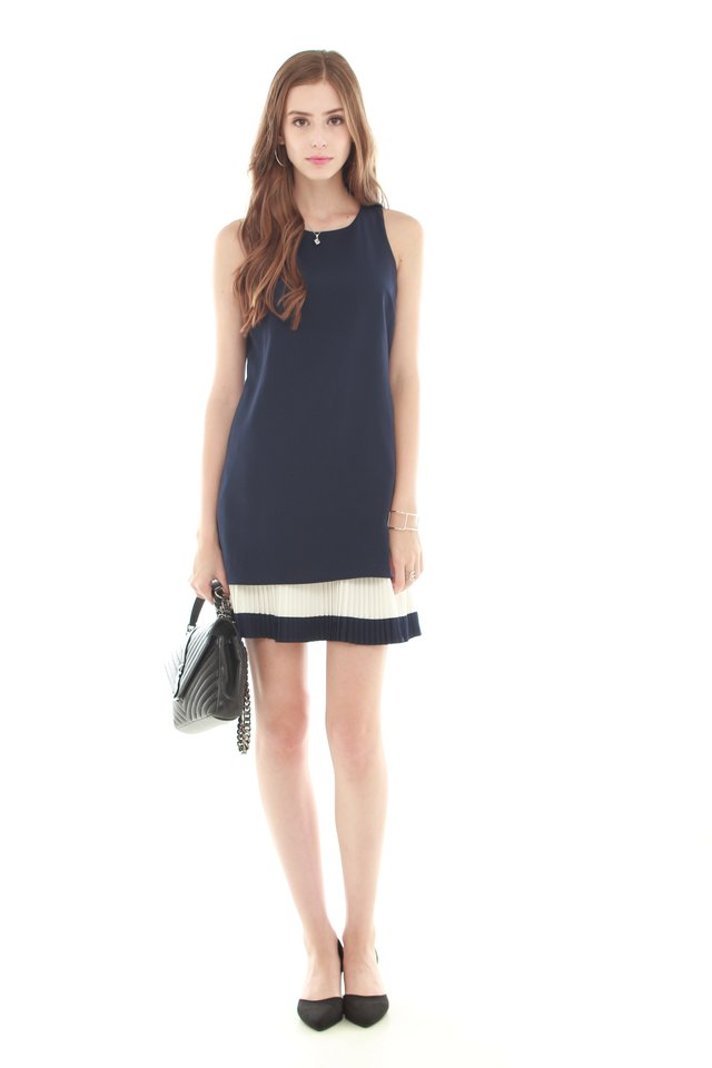 *Backorder 3* Double Pleat Colourblock Shift Dress in Navy