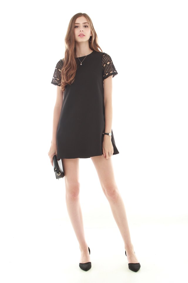 ACW Crotchet Sleeved Dress in Black