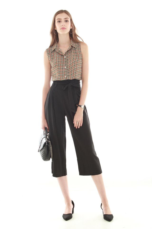 Paperbag Sash Tie Trousers in Black