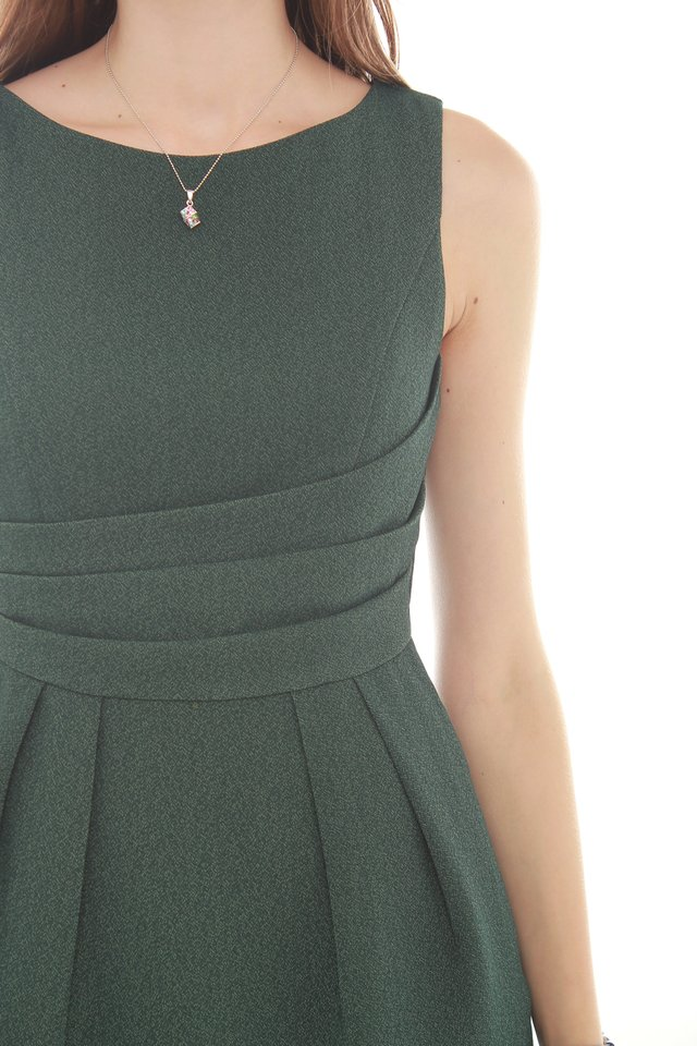 *BACK IN STOCK* Wrapped Waist Work Dress in Emerald