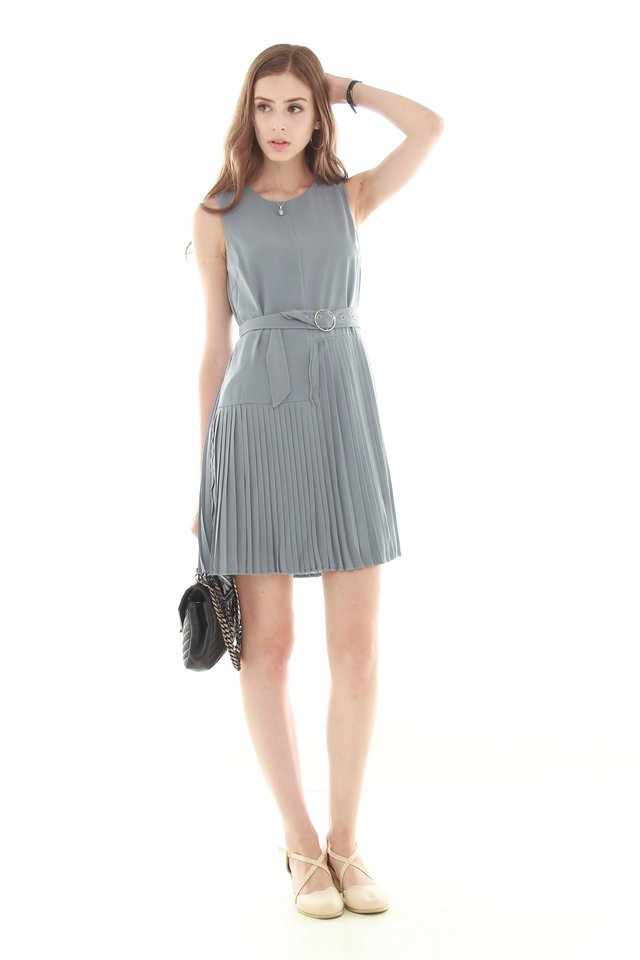 *Backorder* Asymmetrical Pleated Shift Dress in Ash Blue