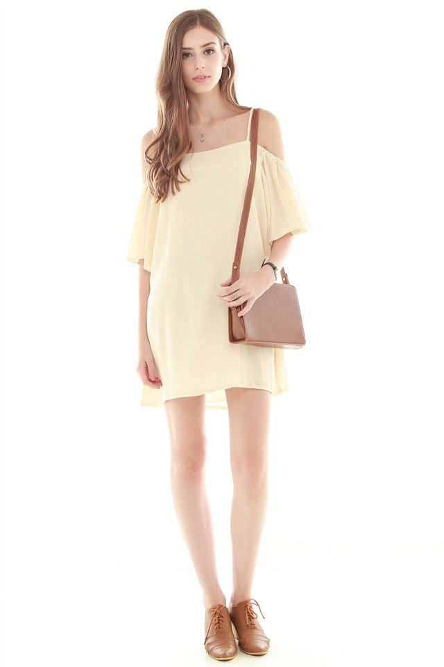 Strappy Cold Shoulder Dress in Cream