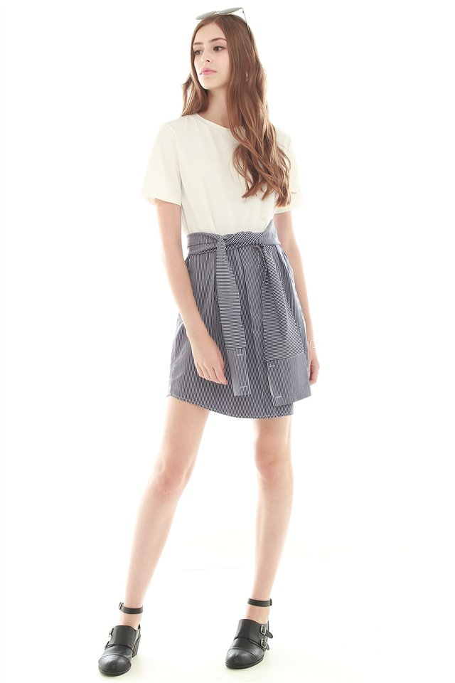 Pinstripe Tie Front Tee Dress in White