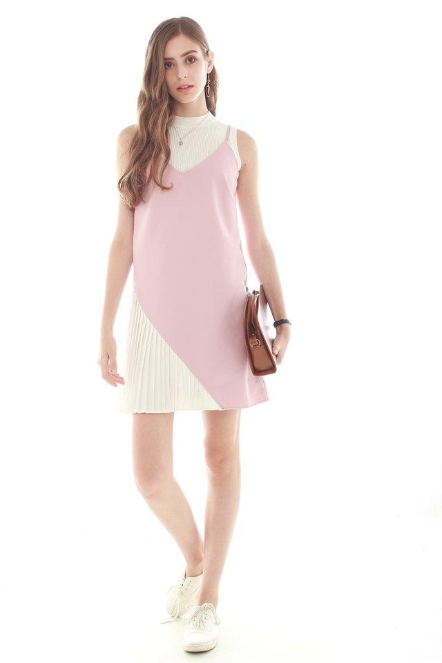 Colourblock Pleated Slip Dress in Dusty Pink