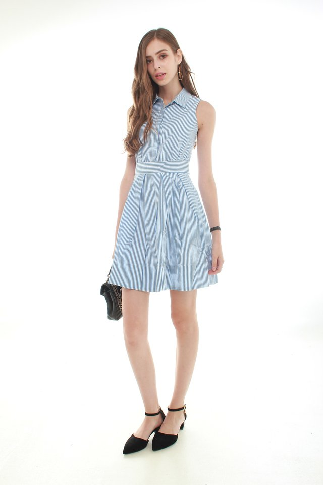 *BACK IN STOCK* Button Down Preppy Flare Dress in Pinstripes