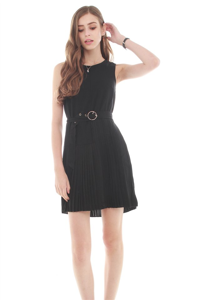 *BACK IN STOCK* Belted Asymmetrical Pleats Shift Dress in Black