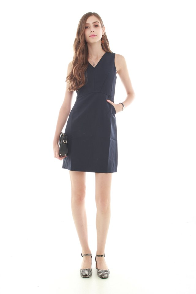 *BACK IN STOCK* Crescent Pocket Work Dress in Navy