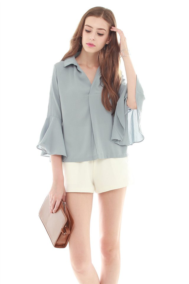 Bell Sleeve Flutter Shirt in Ash Blue