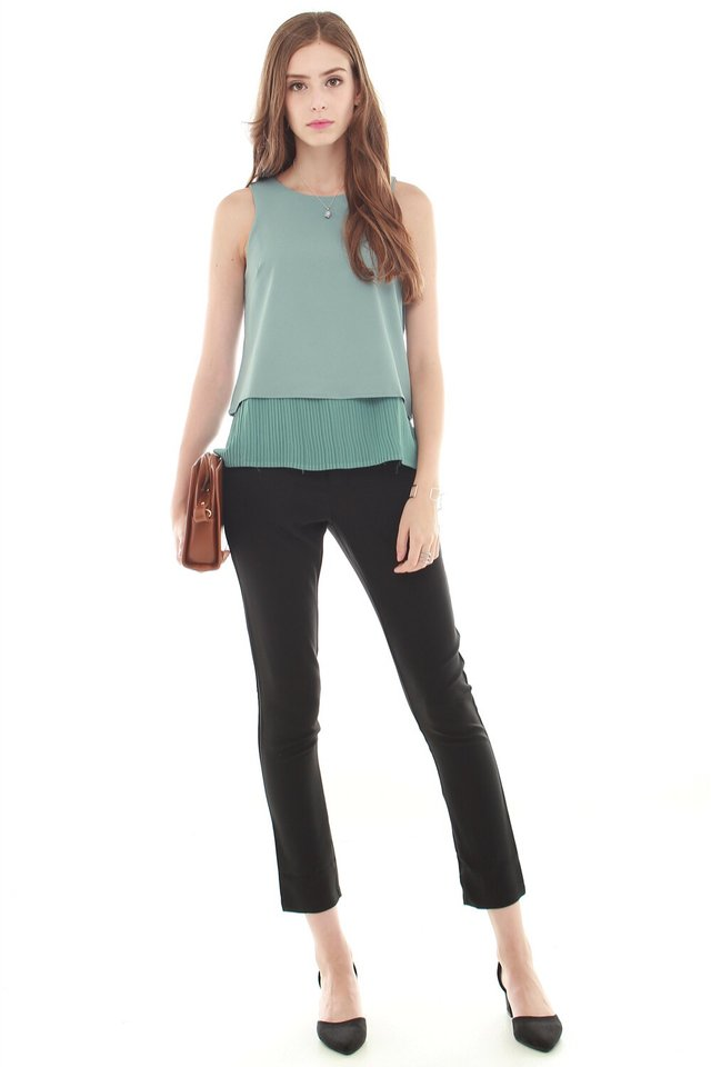 *BACK IN STOCK* ACW Pleated Hemline Shell Top in Turquoise