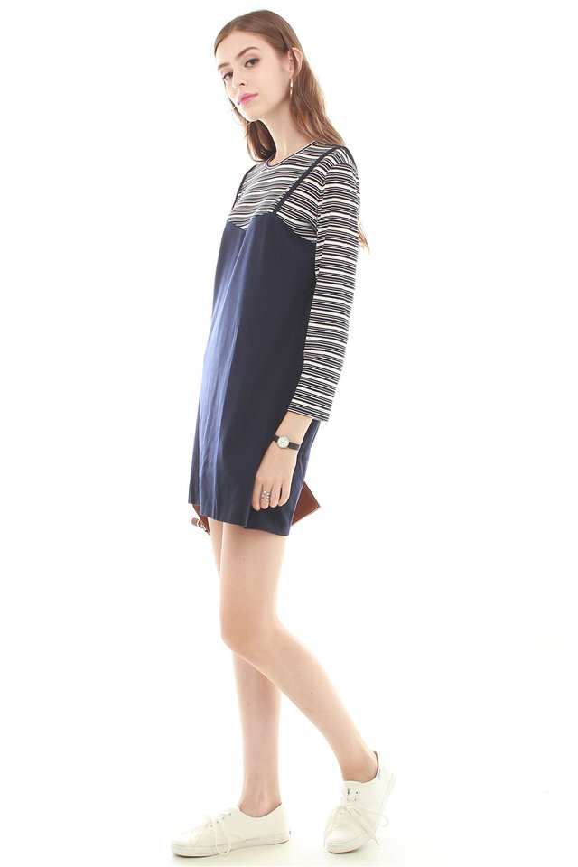 Faux Two Piece Striped Dress in Navy