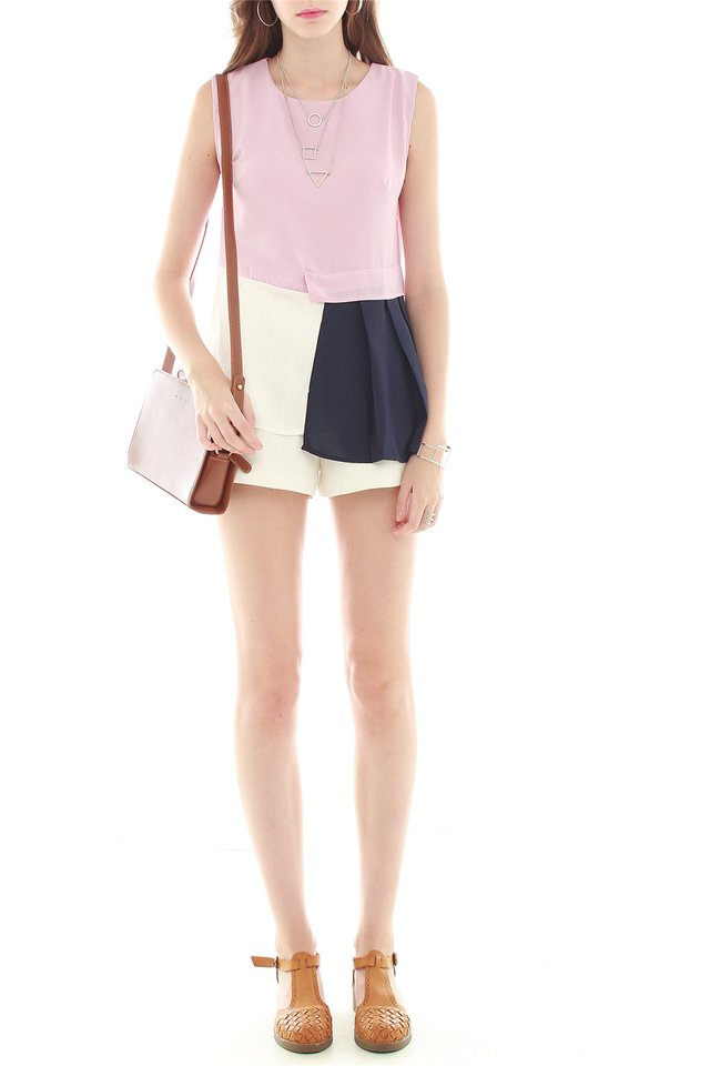 Colourblocking Patchwork Top in Dusty Pink