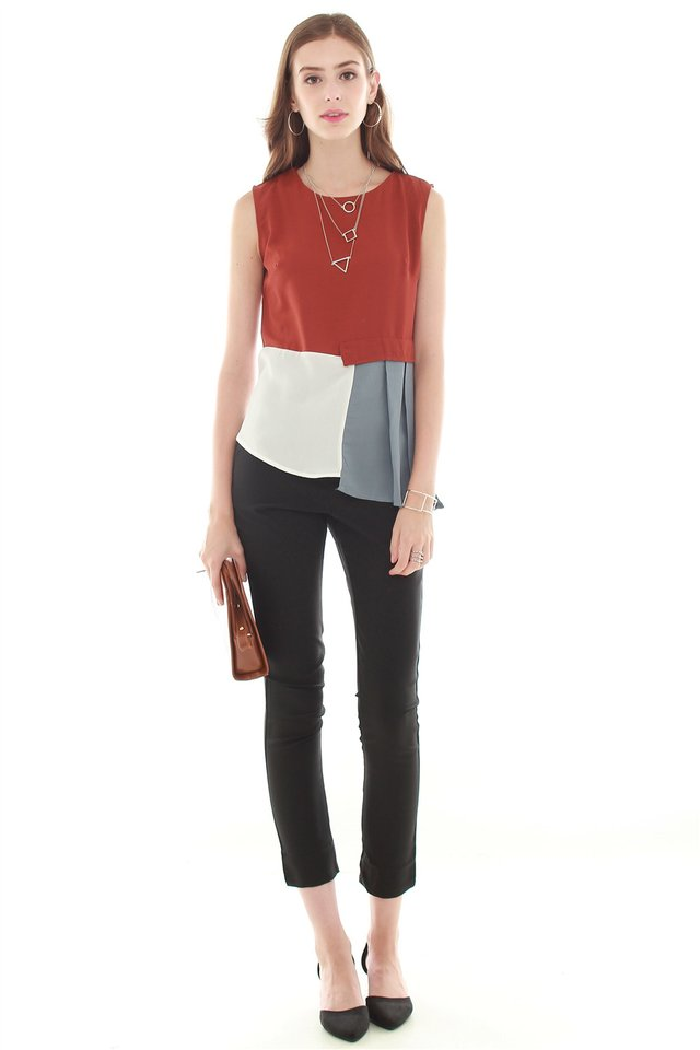 Colourblocking Patchwork Top in Rust