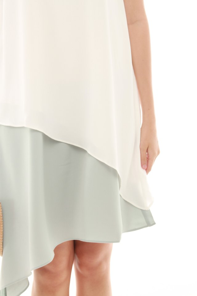 Asymmetrical Colourblock Drape Dress in Mint