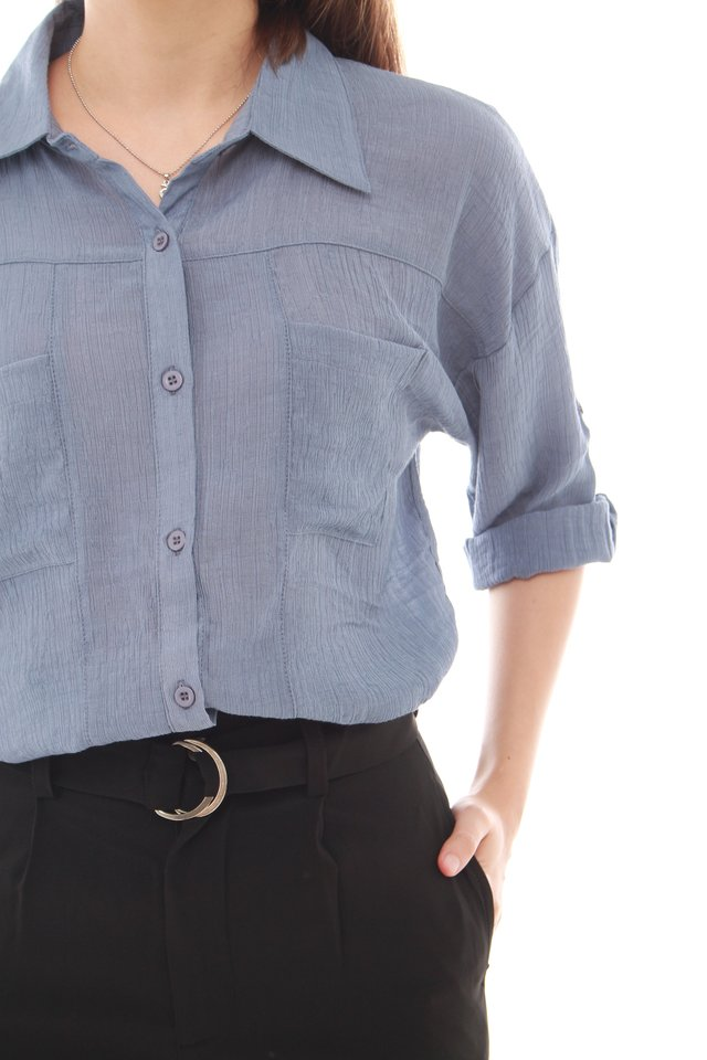 *BACK IN STOCK* Button Down Shirt in Ash Blue