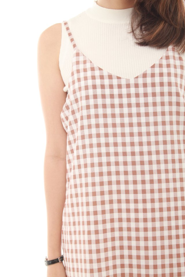 Gingham Flutter Slip Dress in Blush