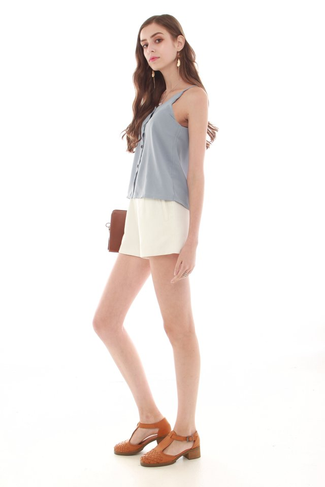 *BACK IN STOCK* Button Down Cami Top in Ash Blue
