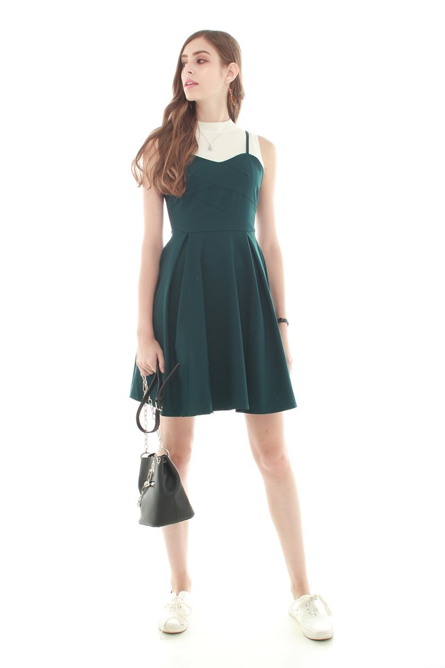 *BACK IN STOCK* Twirling Cami Dress in Emerald