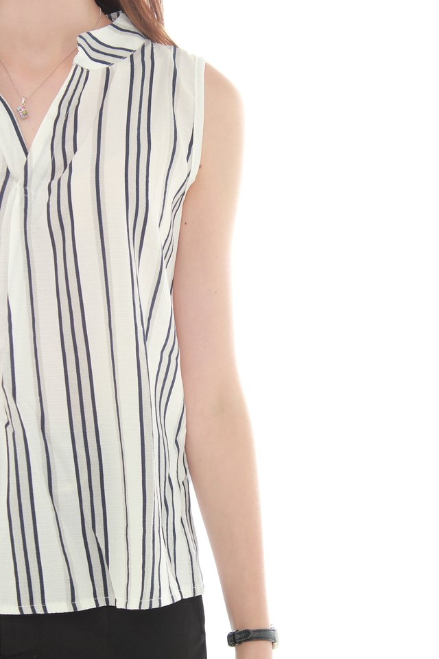 Striped Sleeveless Mandarin Collared Top in Navy