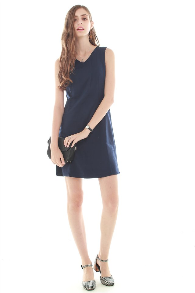 ACW Effortless Pocket Shift Dress in Navy