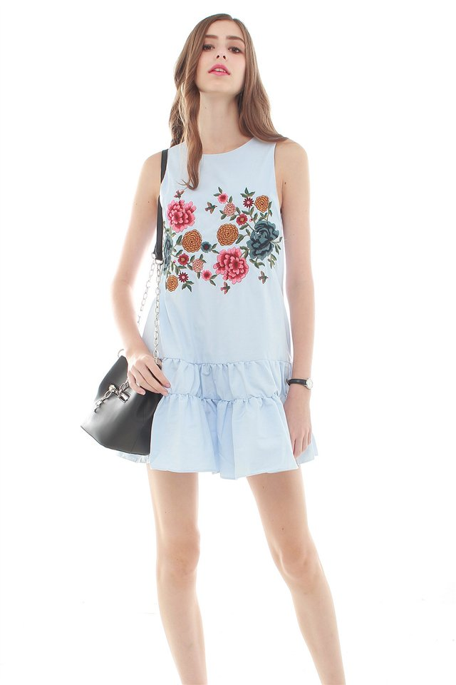 *BACK IN STOCK* Embroidery Ruched Hem Dress in Sky