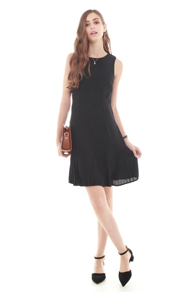 Inverted Pleats Work Dress in Black