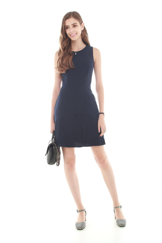 Inverted Pleats Work Dress in Navy
